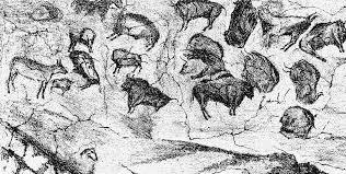 drawing of altamira cave paintings spain 1880