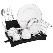 stainless steel dish drying rack utensil organizer tableware holder with draining tray for countertop kitchen bathroom