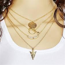 multilayer arrow design pendant necklace gold