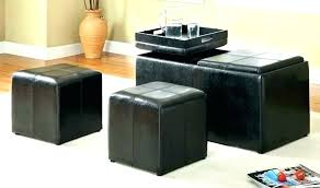 leather ottoman with tray top storage on l