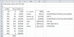 frequency table mean variance figure 2 calculating mean and standard deviation