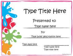 Free Printable Award Certificates For Kids School Stuff Award
