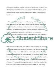 shirley jackson s the lottery essay example topics and well shirley jackson s the lottery essay example
