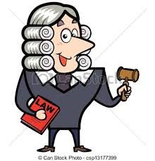 cartoon judge with a gavel and law book csp13177399