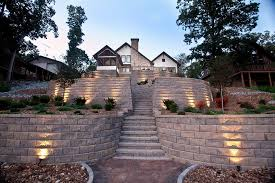 terraced retaining wall with stairs and
