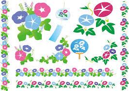 フリーイラスト あさがおの花のセットでアハ体験 Gahag 著作権