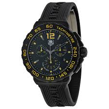 tag heuer formula 1 watches jomashop tag heuer formula 1 chronograph black and yellow dial black rubber men s watch cau111eft6024