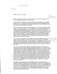 amy tan mother tongue essay analysis analysis of mother tongue by amy tan draft essay 826 words