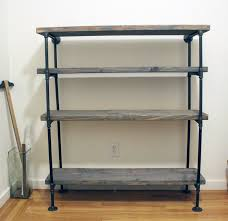 diy rustic shelf building keen metal pipe bookshelf