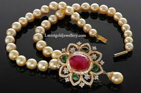 south sea pearls mala with diamond pendant