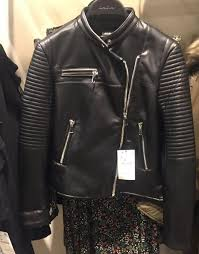 details about zara faux leather quilted power shoulder ribbed sleeve zip biker jacket 3046 025