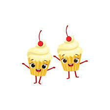 animated birthday cupcakes. Perfect Animated Cupcakes With Cherry On Top Kids Birthday Party Happy Smiling Animated  Object Cartoon Girly Character Festive Inside E