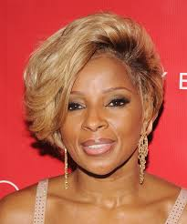mary j blige short straight formal hairstyle um blonde golden hair color