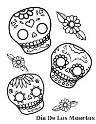 Small Picture Day Of The Dead Coloring Pages Getcoloringpages within Dia De Los