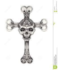 Cross Art Design Art Sugar Skull Mix Cross Tattoo Stock Illustration