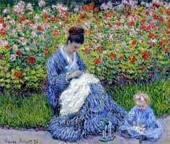 camille monet and a child in the artist s garden in argenteuil 1875 claude monet