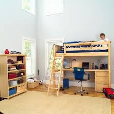 appealing wooden loft beds for teens with computer desk and drawerson wooden floor for kids room