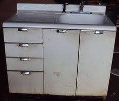 vintage retro metal kitchen cabinet cast iron sink ebay tinny