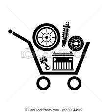 auto parts clip art. Wonderful Art Auto Parts In The Supermarket Trolley Symbol Of Car Store Vector  Image Inside Parts Clip Art N