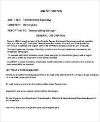 Telemarketing Executive Job Description