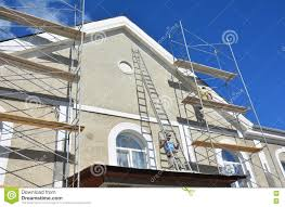 Painting And Plastering Exterior House Scaffolding Wall Facade - Plastering exterior walls