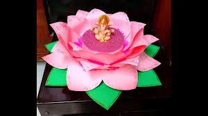How To Make Big Lotus Flower From Paper Diy How To Make Easy Paper Lotus Singhasan Throne For Ganesh