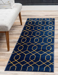 navy blue gold 2 x 6 marilyn monroe glam trellis runner rug