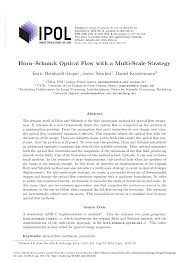 Pdf Horn Schunck Optical Flow With A Multi Scale Strategy