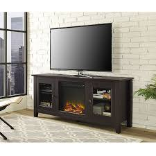 com we furniture 58 wood fireplace tv stand console espresso kitchen dining