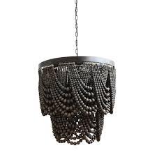 3r studio black metal and wood bead chandelier black beaded chandelier s38