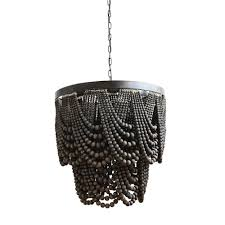 black metal and wood bead chandelier