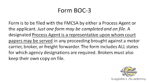 Form Boc 3 Designation Of Process Agents Legal Requirements For Becoming A Licensed Freight Broker