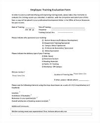 Sample Post Training Evaluation Form Employee Doc Performance ...