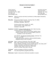 Sample Resumes For Students In College Sample College Student