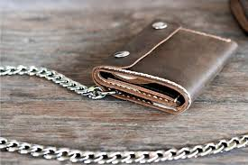 mens leather wallet leather chain wallets
