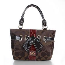 Coach Poppy Bowknot Signature Medium Coffee Totes FDC