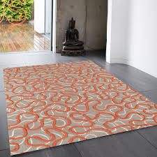 squiggle orange abstract wool rug by asiatic 1
