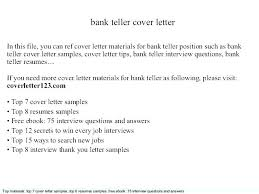 Cover Letter Example For Bank Teller Cover Letter Examples For Bank