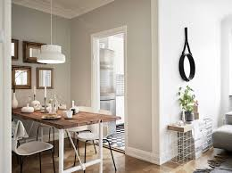 wall color white wall decoration dining room living room dining table wood pendant metal