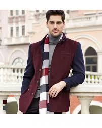 maroon navy blue wool winter coat for men