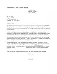Cover Letter Sample College Student Good Internship Certification