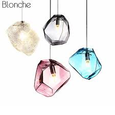 modern colorful pendant light glass stone shade pendant lamp colorful crystal luminaria for dning room kitchen led light fixture flush ceiling lights glass