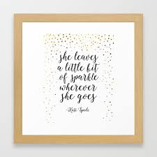 Quotenursery Girlsshe Leave A Little Sparkle Wherever She Goesquote Printsnursery Artchildren Framed Art Print