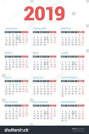 Nyc Design Calendar Calendar 2019 Year On White Background Stock Vector Royalty