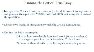 the critical lens essay one of the writing tasks on the 2 planning the critical lens essay iuml130sect interpret the critical lens the quotation