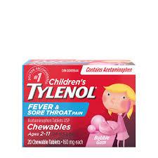 Children S Chewable Tylenol Dosage Chart Childrens Tylenol Fever Sore Throat Pain Chewables