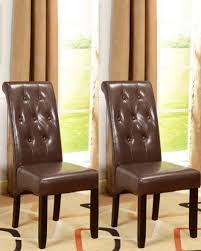 king s brand set of 2 brown parson chairs with espresso finish solid wood legs find this pin and more on home kitchen dining room furniture