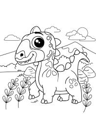 Schattig Dinosaurus Kleurplaat Gratis Kleurplaten Printen