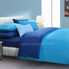 blue quilt cover and sheet solid bedding
