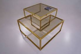 milo baughman brass coffee table or